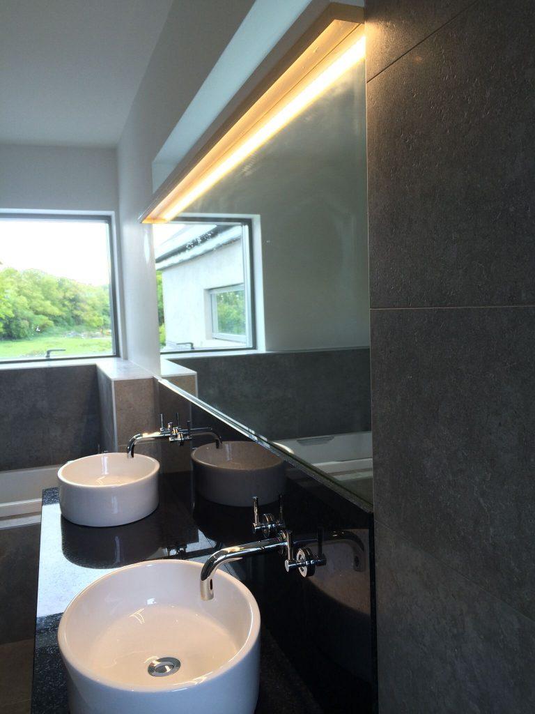 Strip lighting over sink